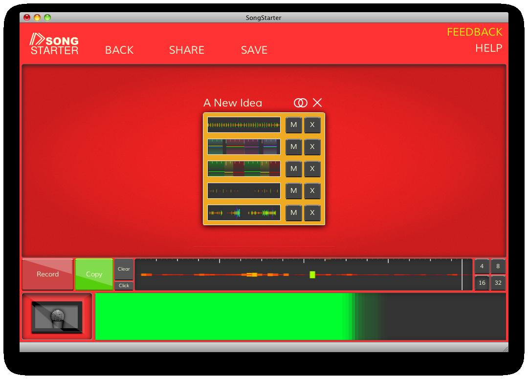 VU Meter and Waveform View in SongStarter Beta 090912