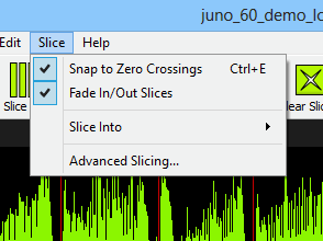 New Snap to Zero Crossings and Fade In/Out Slices feature in BeatCleaver 1.3.1