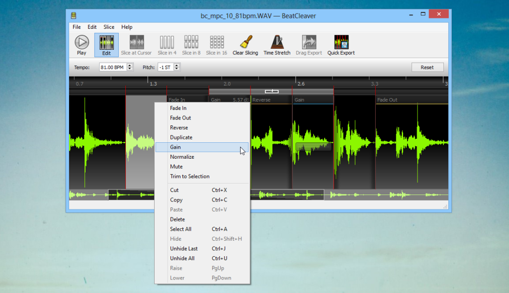 Edit Mode in BeatCleaver 1.4